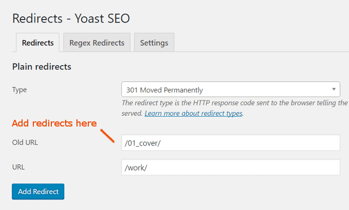 301 redirect instellen via Yoast Premium Plugin