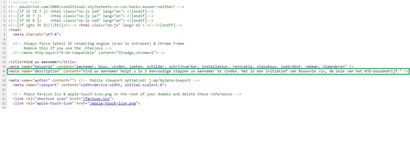 meta omschrijving in html code